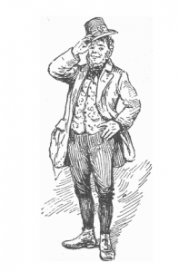 "Engraving of an stereotypical Irishman from ""Irish Wonders,"" by D.R. McAnally Jr., originally published prior to 1909"