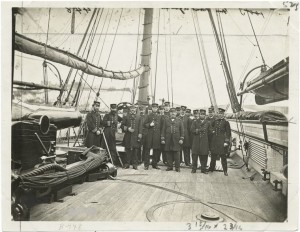 Officers on the deck of the ship Kearsarge. United States Signal Corps. NYPL Digital Library