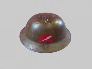 A brodie helmet of the Lightning Division during World War I.