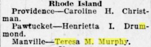 Newspaper clipping announcing Teresa M. Murphy's death.