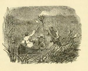 Men in a salt marsh. The American sportsman by Elisha Jarrett Lewis, published 1885 by J. B. Lippincott & co. in Philadelphia.