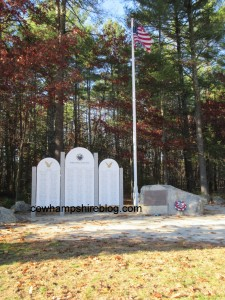 Veteran's Memorial Park in Merrimack NH showing the World War 2 memorials