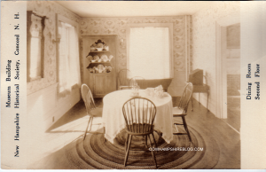 """Second Floor """"Dining Room"""" museum display at NH Historical Society, pre 1911 (when it was located at 215 North Main Stret Concord NH)"""