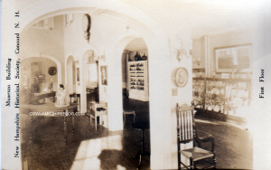 First Floor museum display at NH Historical Society, pre 1911 (when it was located at 215 North Main Stret Concord NH)