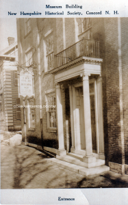 Postcard showing the front door of the New Hampshire Historical Society when it was located at 214 North Main Street, Concord NH.