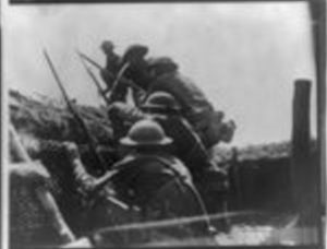 "[""Over the top"" doughboys emerging from trench]. Sept. 21, ca. 1918. Image. Retrieved from the Library of Congress, https://www.loc.gov/item/cph22211/."