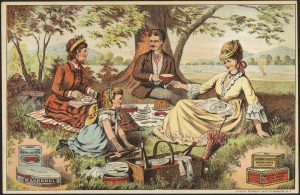Postcard picnic Royal brand fish delicacies