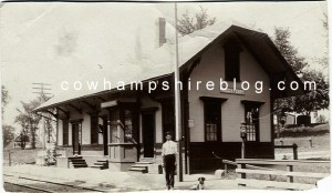 Clarence L. Webster circa 1910 at the Reeds Ferry Depot, Merrimack NH