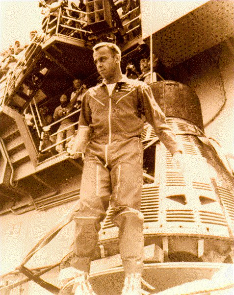 Alan Shepherd holds the distinction of being the first American to journey into space. NASA Photograph.