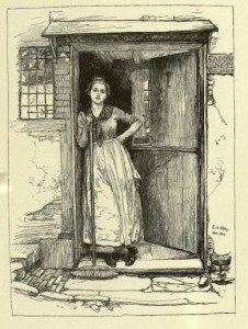 """Sally In Our Alley,""Etching of Woman in doorway, from ""Old Songs with Drawings by Edwin A. Abbey & Alfred Parsons,"" NY, Harper & Brothers, 1888, page 74 http://archive.org/stream/oldsongswithdraw00abberich#page/74/mode/2up"