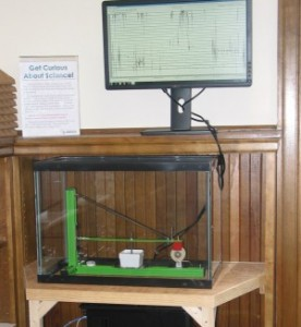 The public seismograph at the Merrimack (NH) Public Library. Photo courtesy of the library.