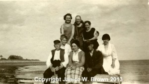 Group shot of servants (and family members) of Aretas B. Carpenter, at Straws Point, Rye NH.  Front row, L to R, Patrick J. Ryan (aka J.P. Ryan) and his daughter, Nellie Ryan, cook for the family.