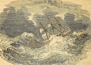 "Sketch of a shipwreck from ""The tragedy of the seas""; internet archive"