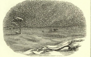 Engraving of snow storm, The Snow Storm, by Esther M. Bourne, San Francisco, 1857