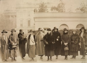 Photograph: Congress would give full  consideration to the Equal Rights Amendment.  They formed a Valentine's Day deputation to the President. The[y] are L to R- Mrs. Jessica Henderson,Brookline, Mass.; Mrs. Anne Archbold, Maine; Mrs. Wm. Draper, Maine; Sallie Hovey, New Hampshire; Hazel Mac Kaye, Mass.; Gail Laughlin, Maine; Mrs. Ernest  Schelling, Maine; Mary Kelly Macarty, Mass.;  Mrs. H.O. Havemeyer, Conn.; Elsie Hill, Conn. Part of Records of the National Woman's Party, Library of Congress, Manuscript Division, Washington D.C., Digital ID: http://hdl.loc.gov/loc.mss/mnwp.160008
