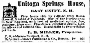 Unitoga Springs advertisement from Boston Traveler (Boston MA), page 4, Monday, July 26, 1875