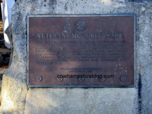 Merrimack New Hampshire's plaque dedicating Veteran's Memorial Park on Camp Sargent Road.