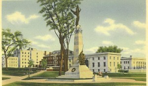 Old postcard showing the back side of the Victory monument, Manchester NH.