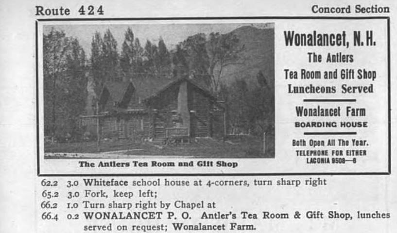 wonalancet tea room advertisement