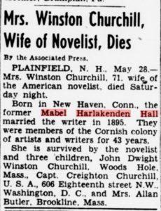 Mrs. Churchill's obituary from the Evening Star newspaper, Washington DC 28 May 1945.
